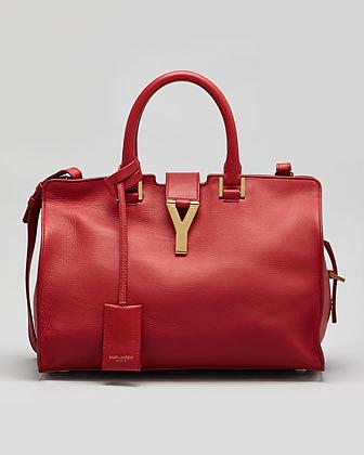 Saint Laurent Y-Ligne Cabas Mini Leather  Bag, Red