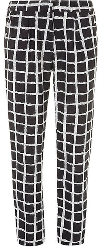 Black and ivory check trouser