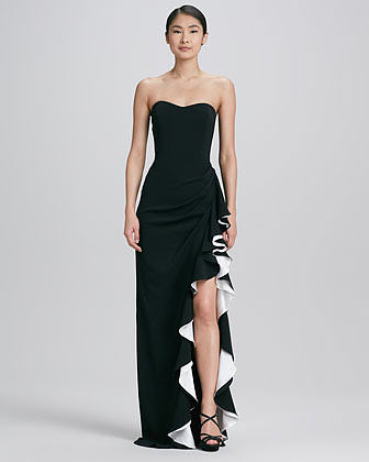 Badgley Mischka Collection Strapless Colorblock Gown