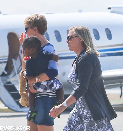 Charlize Theron and her mom, Gerda, got ready to leave LA on a private plane.