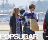 Charlize was joined by her mom, Gerda, as they took a private plane out of LA.