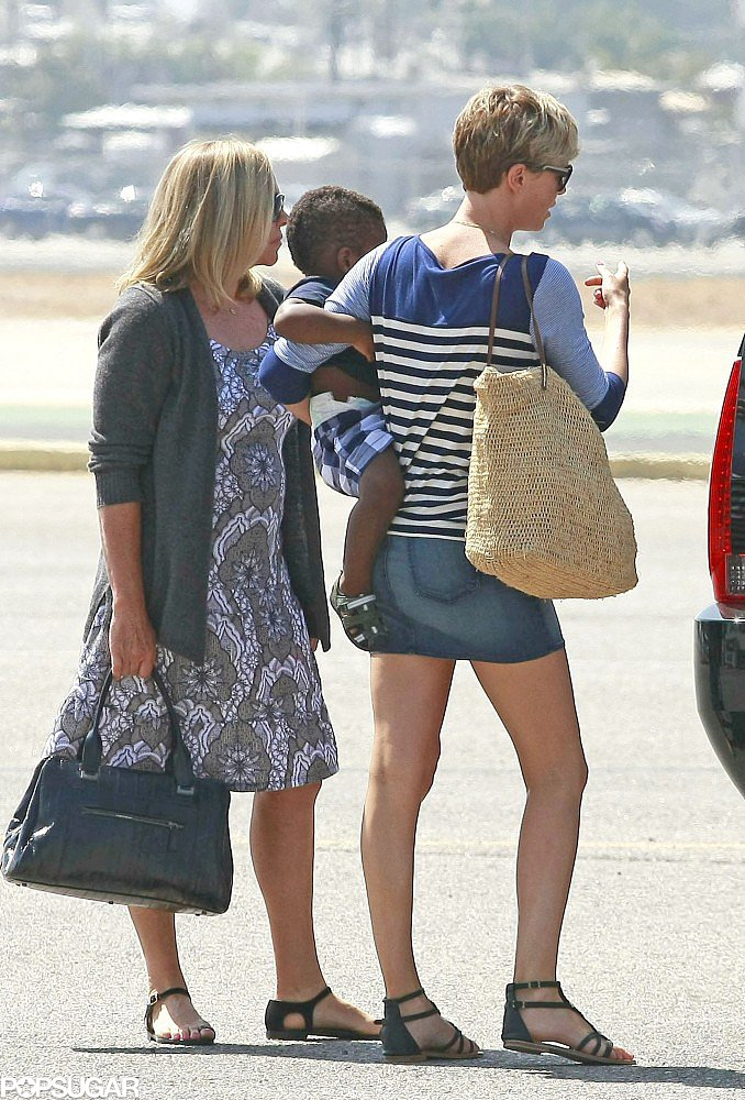 Birthday Girl Charlize Theron Jets Out of LA With Jackson