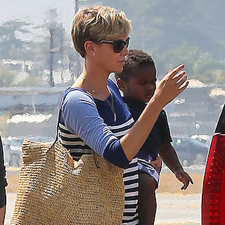 Charlize Theron Leaving LA With Her Family