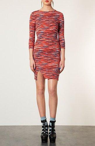 Topshop Stripe Notched Body-Con Dress