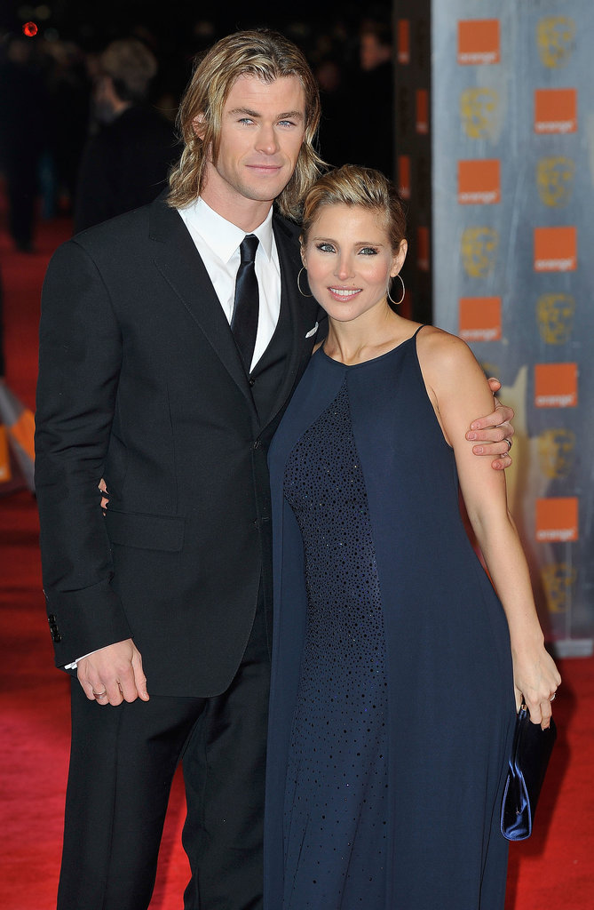 Chris and Elsa hit the red carpet at the BAFTA Awards in London in Feb. 2012.