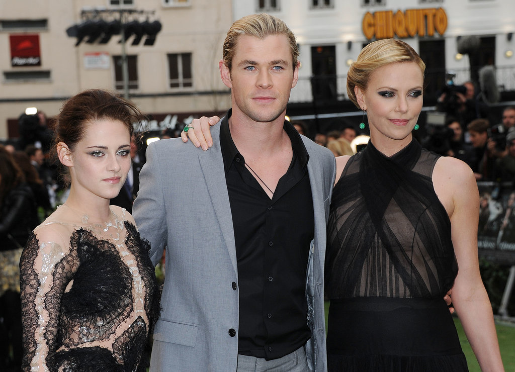 Chris was flanked by Hollywood beauties Kristen Stewart and Charlize Theron at the world premiere of Snow White and the Huntsman in London in May 2012.