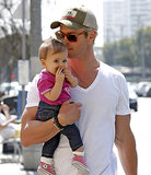 Chris gave India a lift during a stroll in Venice Beach in March 2013.