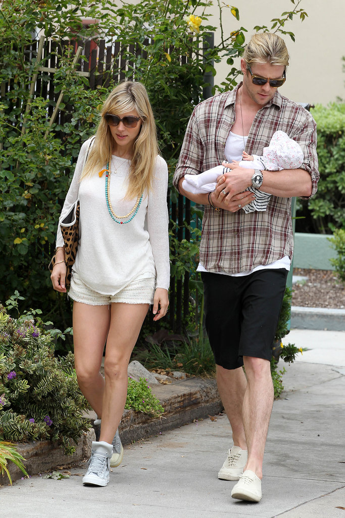 Elsa, Chris and baby India went to lunch in Santa Monica in July 2012.