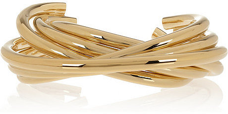 Saint Laurent Stacked gold-tone cuff