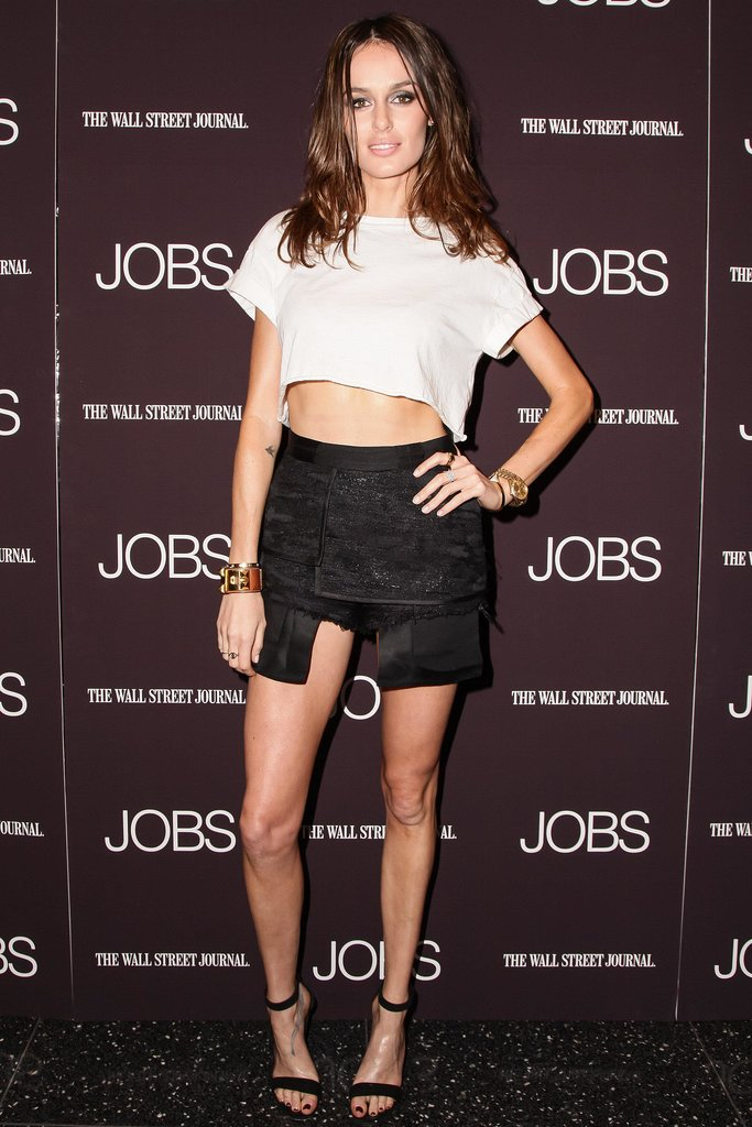 At MoMA, Nicole Trunfio bared her midriff in a crop top and asymmetric bottom.
