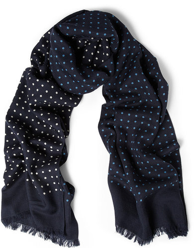 Drake's Polka-Dot Wool and Silk-Blend Scarf