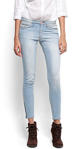 Cropped zipper jeans