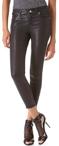 7 for all mankind Crop Coated Skinny Jeans with Ankle Zips