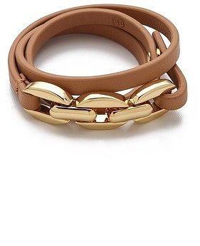 Tory burch Chain & Leather Triple Wrap Bracelet
