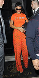 Only Rihanna could work an all-orange ensemble without looking like an Oompa Loompa. The singer was spotted at The Arts Club in London in an orange Kenzo tee and printed trousers in September 2012.