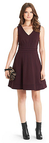 Georgette Knit Fit and Flare Dress In Brazen Plum