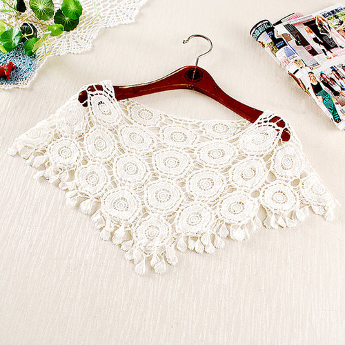 white / beige lace blouse bat shirt waistcoat openwork crochet loose pullover cape shawl
