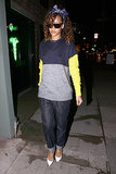 The singer oozed colorblock coolness with a navy bandanna and stark white pumps in West Hollywood.