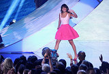 Lea Michele waved as she came on stage at the Teen Choice Awards.