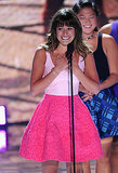 Lea Michele took the stage in a pretty pink Oscar de la Renta combo and Tiffany & Co. jewels for her emotional Teen Choice appearance.