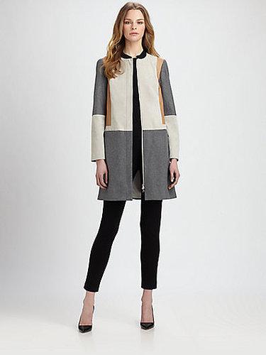 Diane von Furstenberg Tanaquil Leather-Panel Coat
