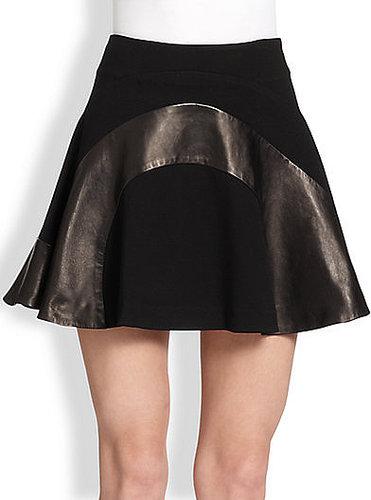 Diane von Furstenberg Tristana Leather Combo Fit-&-Flare Skirt