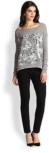 Diane von Furstenberg Gracie Print-Paneled Wool Sweater