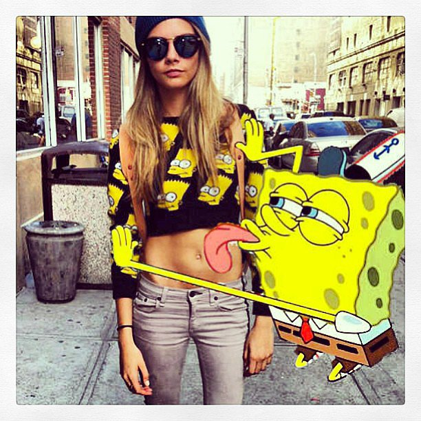 Cara got a little more animated than usual with SpongeBob SquarePants and Bart Simpson. Source: Instagram user caradelevingne