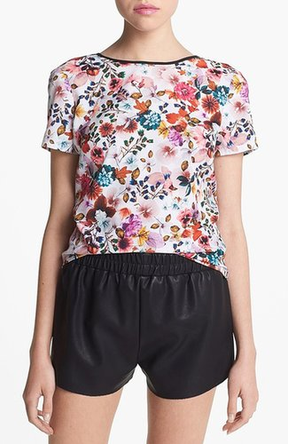 Wayf Woven Wrap Back Blouse White Digital Floral Small