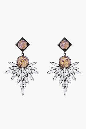 DANNIJO Champagne Crystal Odessa Statement Earrings