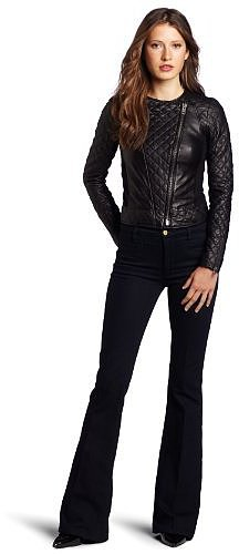 Catherine Malandrino Women's Mixed Leather and Ponte Jacket