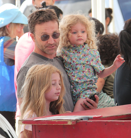 Breckin Meyer brought his daughters, Caitlin and Clover, to a farmers market in LA on Sunday.