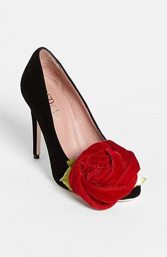 RED Valentino Velvet Rose Pump Black 39.5 EU