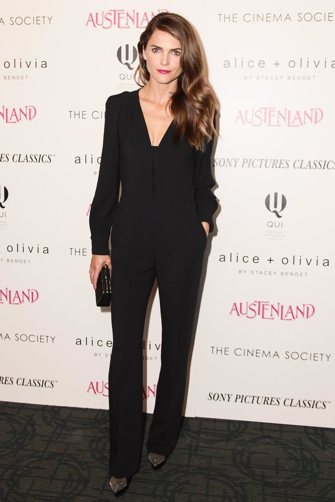 Keri Russell paired her black Stella McCartney jumpsuit with an onyx Tiffany & Co. clutch at the Austenland screening in New York.