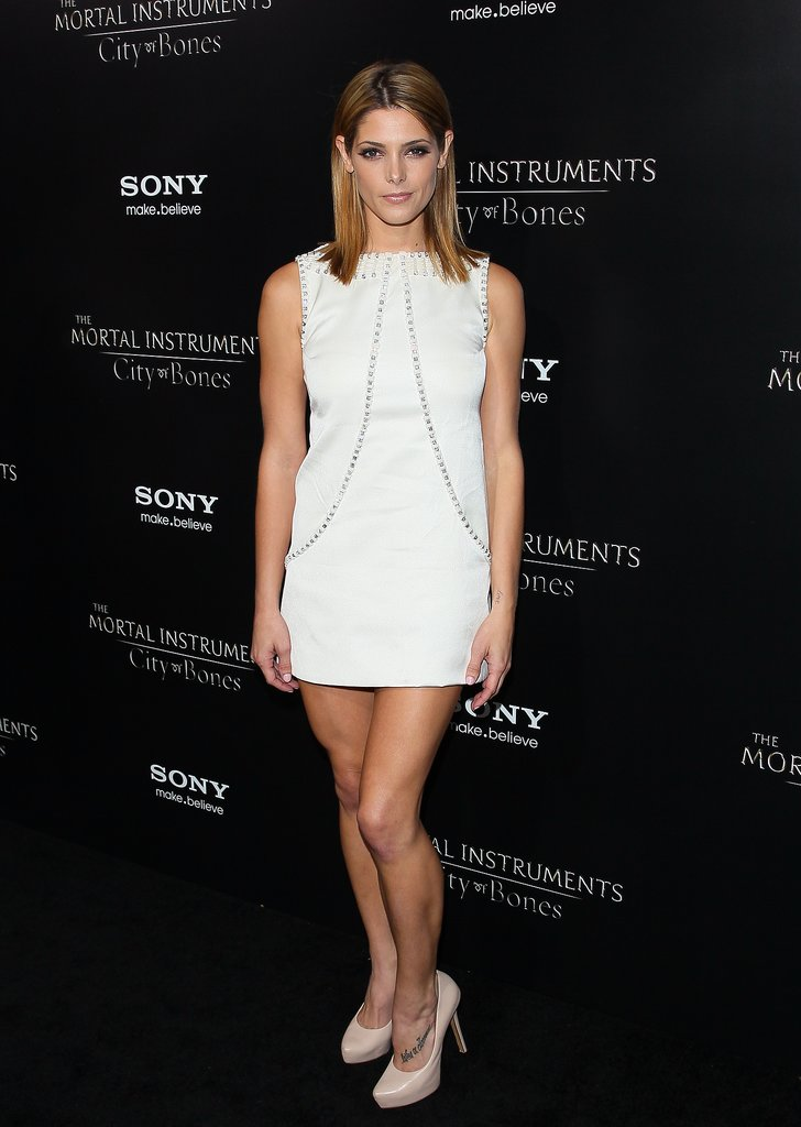 Ashley Greene flaunted her gams in a crystal-studded Temperley London shift.