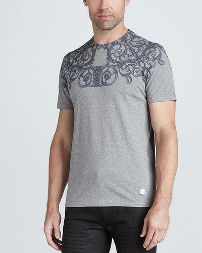 Versace Collection Short-Sleeve Screen-Print Tee, Silver