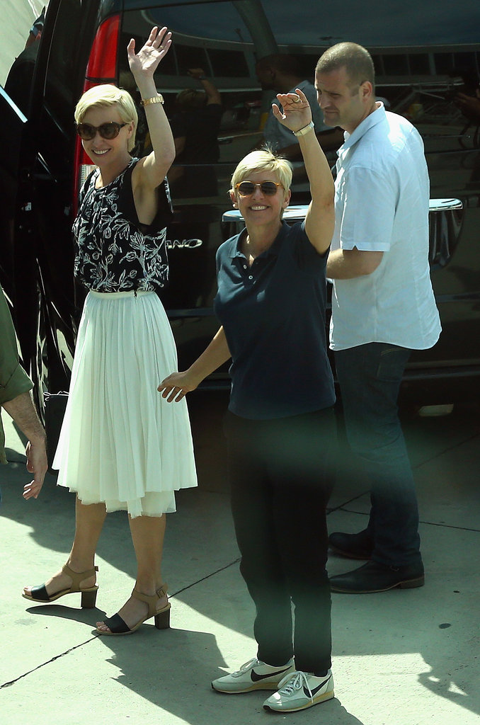 Portia de Rossi and Ellen DeGeneres waved to fans in Australia in March 2013.
