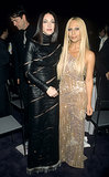 Madonna's goth phase was a perfect fit for Versace's black leather at the annual Fire and Ice Ball in 1998.