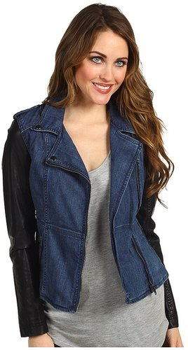 Blank NYC - Denim and Vegan Leather Fitted Jacket (Denim/Black) - Apparel
