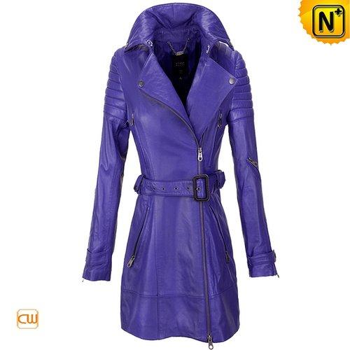 Leather Dust Coat Purple CW661033 - cwmalls.com