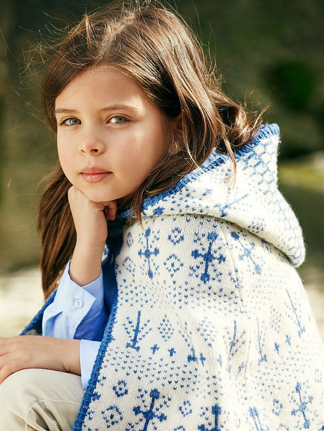 Look 12 — Girls' Lambswool Jacquard Cape ($225)