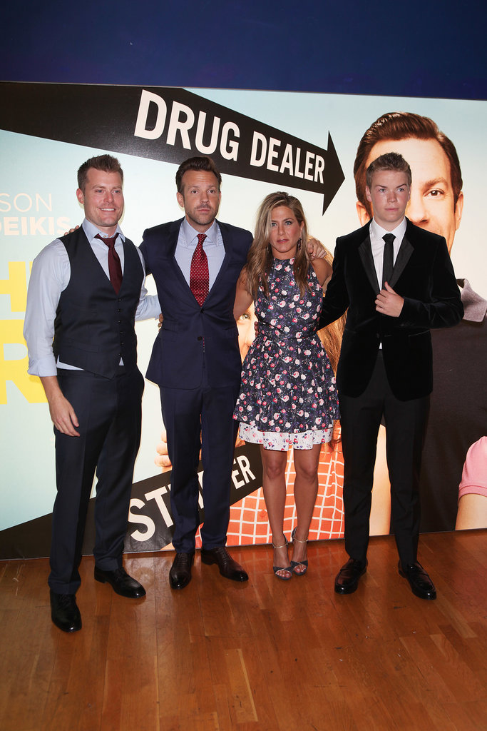 Jason Sudeikis and Jennifer Aniston posed with their We're the Millers costars Will Poulter and Rawson Marshall at the film's London premiere.