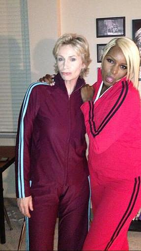 NeNe Leakes shared a photo of she and Jane Lynch in character on the set of Glee. Source: Twitter user NeNeLeakes