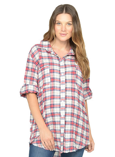 NOM Button-Down Plaid Top
