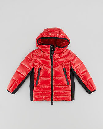 Moncler Hooded Quilted Jacket, Red, Sizes 2-6
