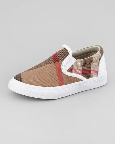 Burberry White Check Slip-On Sneaker, Youth