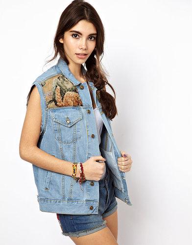 ASOS RECLAIMED VINTAGE - Gilet en jean à empiècements motif tapisserie