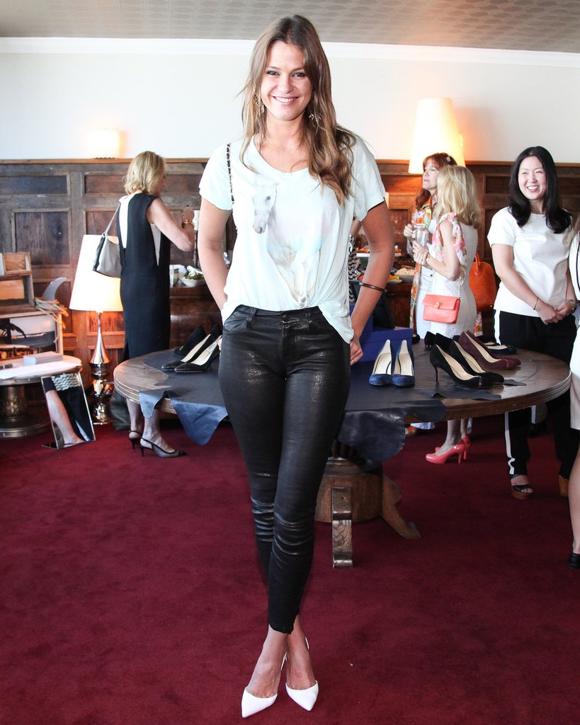 Dominique Piek showed some leg in leather leggings at Sarah Flint's SoHo House trunk show.