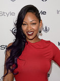 Actress Meagan Good showed off an edgy undercut, which she balanced with blood red lips.