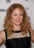 It was curls on curls for Erika Christensen, who also swiped an orange lipstick on.